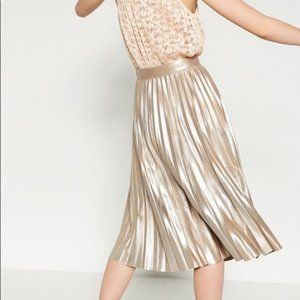 Zara Gold Metallic Pleated Accordion Midi Skirt